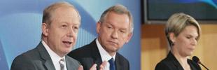 V.l. WDR-Intendant Tom Buhrow, der ARD-Vorsitzende und NDR-Intendant Lutz Marmor und ARD-Sprecherin Anna Engelke.