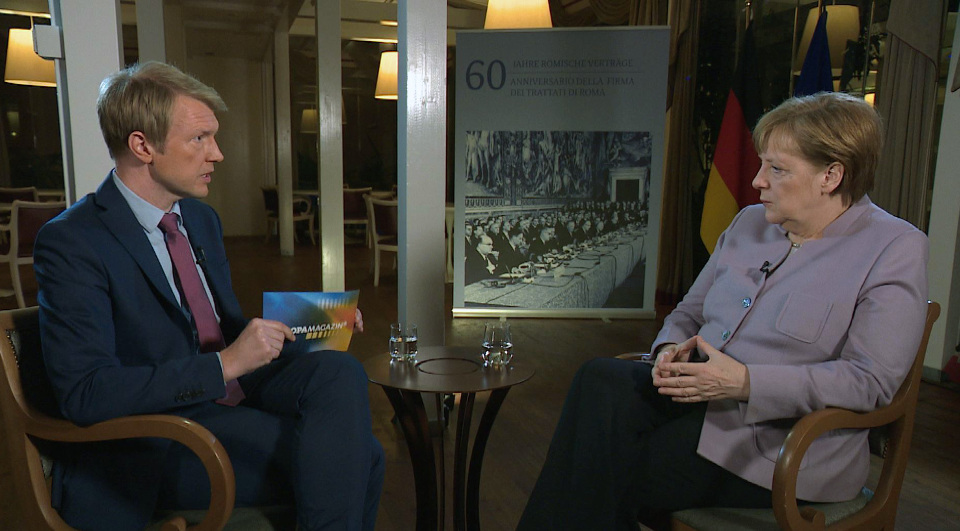 Markus Preiß im Interview mit Bundeskanzlerin Angela Merkel i