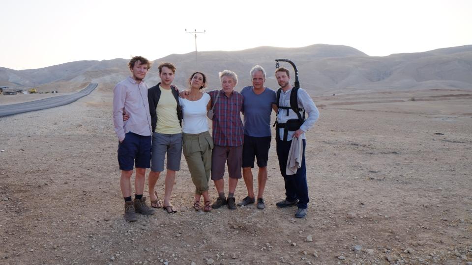 V.l. Leonard Carow (Jacob), Leonard Scheicher (David), Emily Atef (Regie), Jörg Schüttauf (Stefan), Thomas Kufus (Produktion), Michael Kotschi (Kamera)