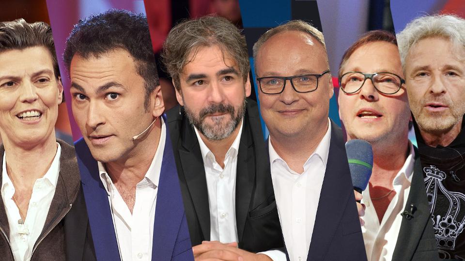 V.l. Carolin Emcke, Fatih Cevikkollu, Deniz Yücel, Oliver Welke, Olli Dittrich und Thomas Gottschalk