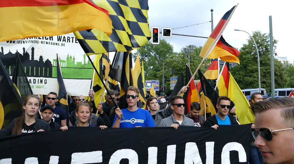 Demonstration der Identitären Bewegung im Sommer 2016 in Berlin.