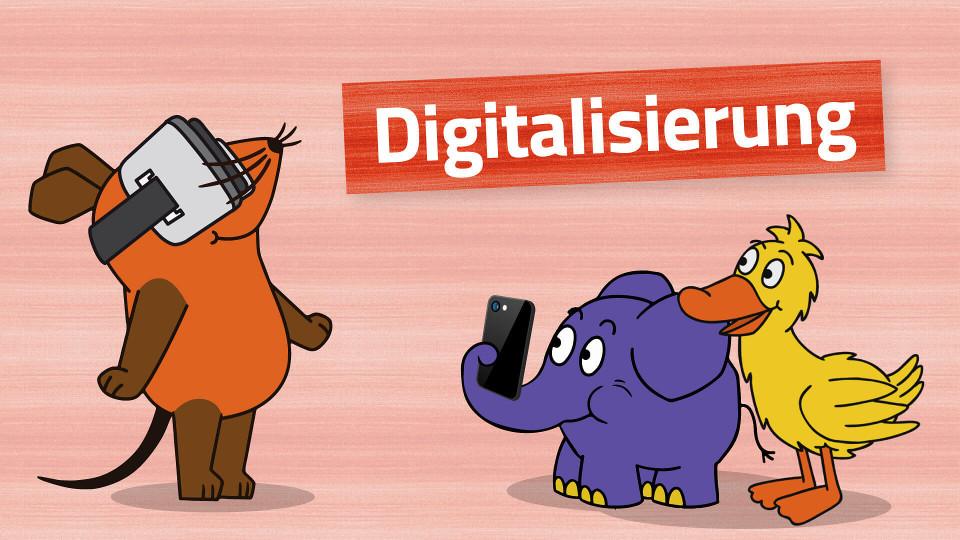 Maus, Elefant und Ente zum Thema Digitalisierung